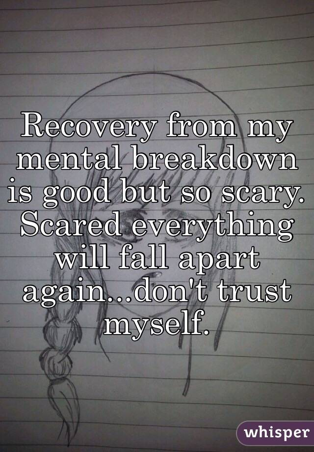 Recovery from my mental breakdown is good but so scary.  Scared everything will fall apart again...don't trust myself.