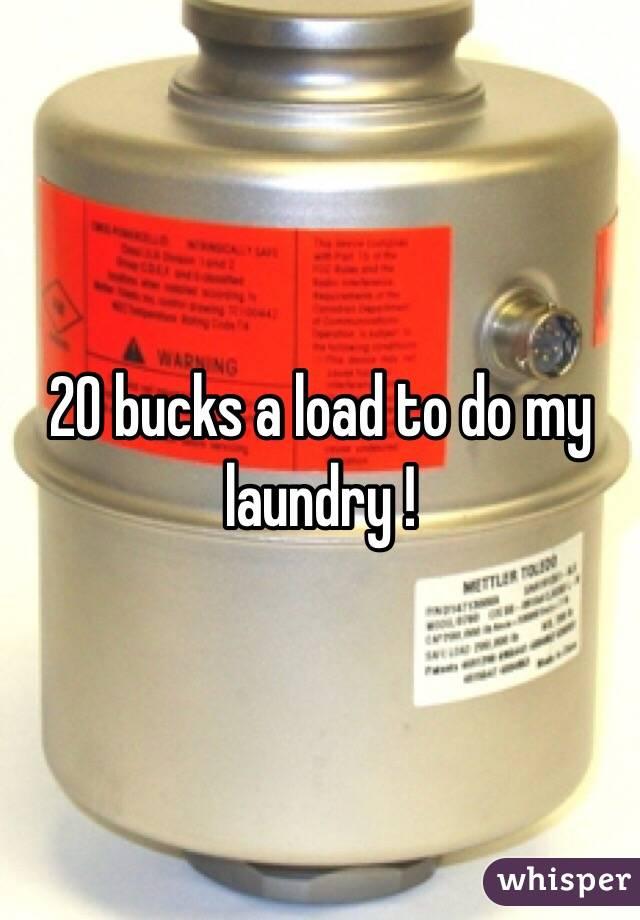 20 bucks a load to do my laundry !