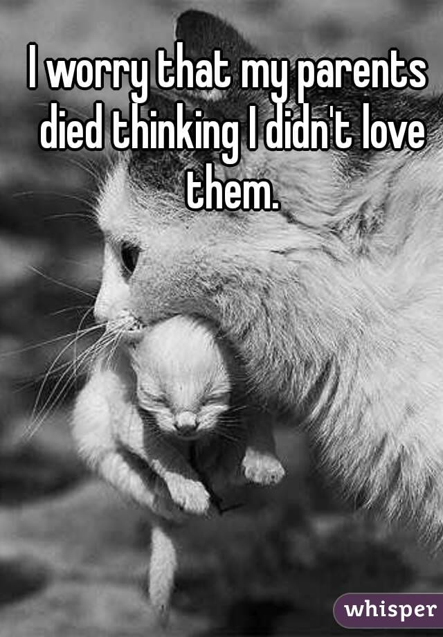 I worry that my parents died thinking I didn't love them.