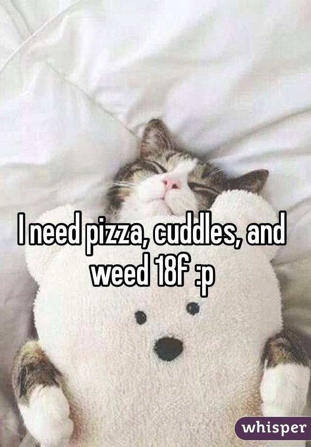 I need pizza, cuddles, and weed 18f :p