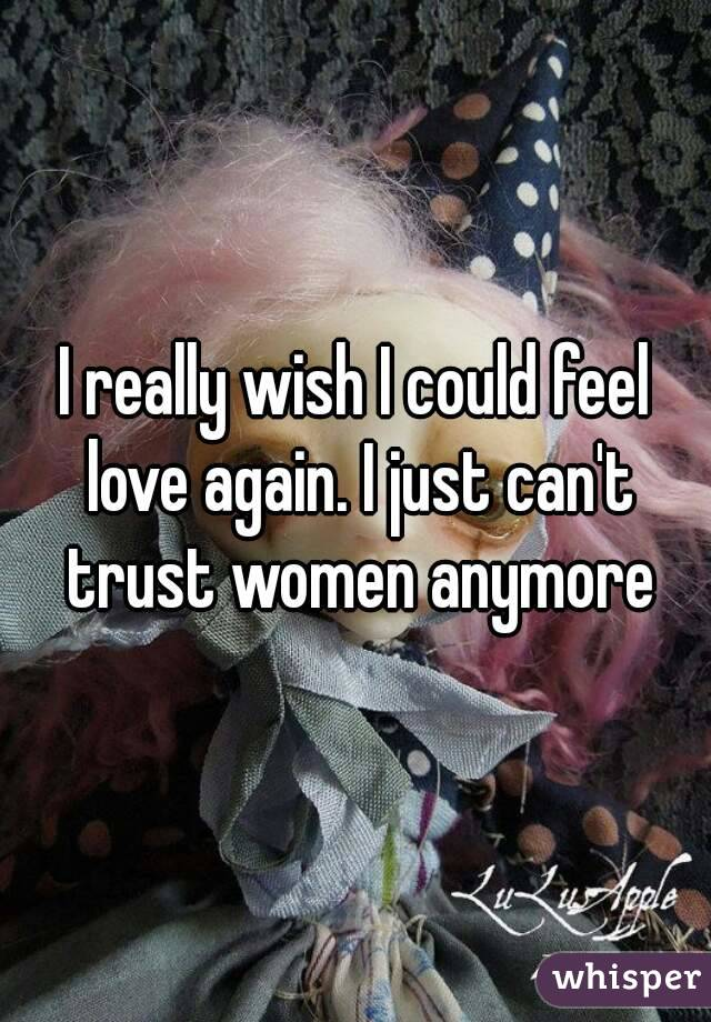 I really wish I could feel love again. I just can't trust women anymore