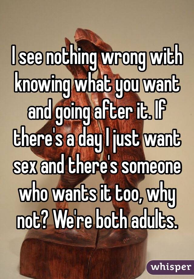 I see nothing wrong with knowing what you want and going after it. If there's a day I just want sex and there's someone who wants it too, why not? We're both adults.