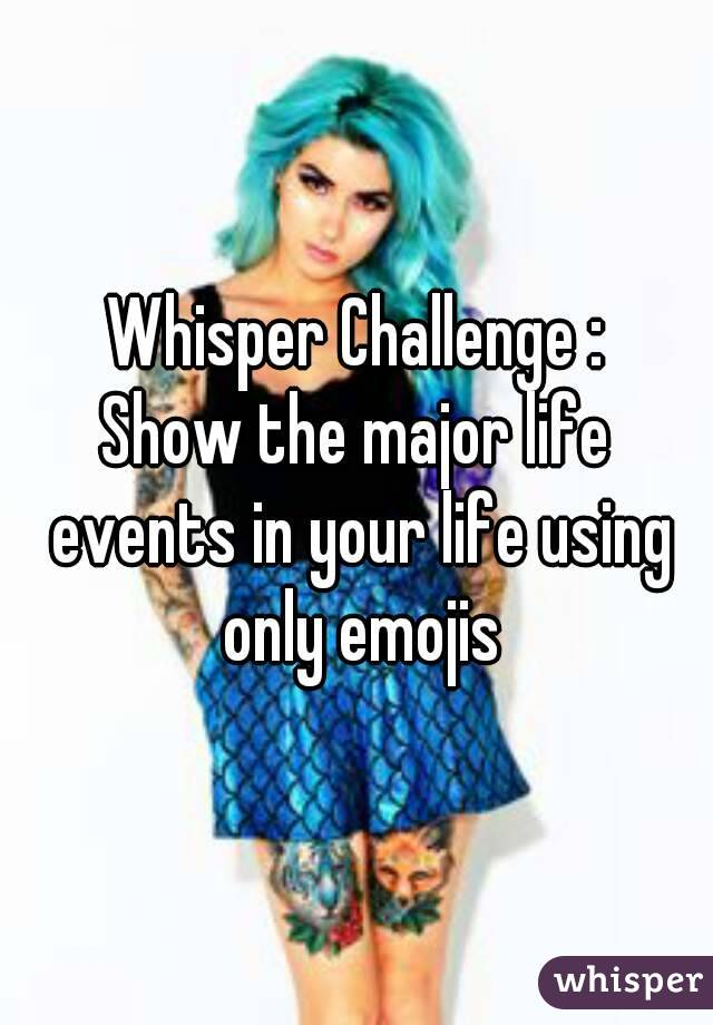 Whisper Challenge : Show the major life events in your life using only emojis
