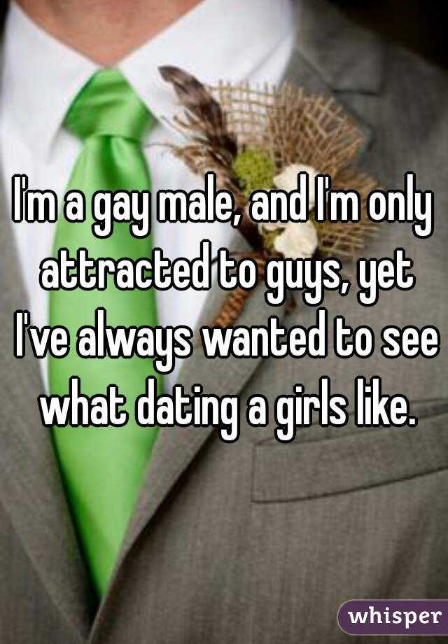 I'm a gay male, and I'm only attracted to guys, yet I've always wanted to see what dating a girls like.