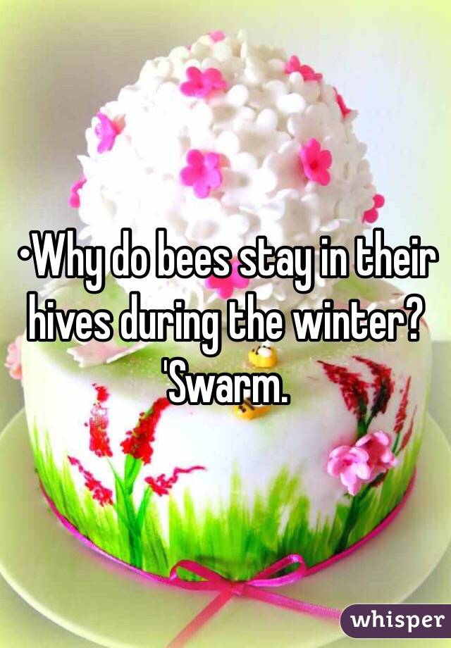 •Why do bees stay in their hives during the winter? 'Swarm.
