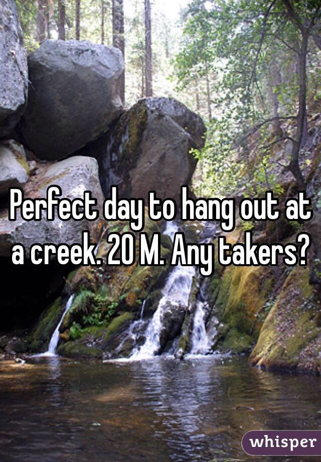 Perfect day to hang out at a creek. 20 M. Any takers?