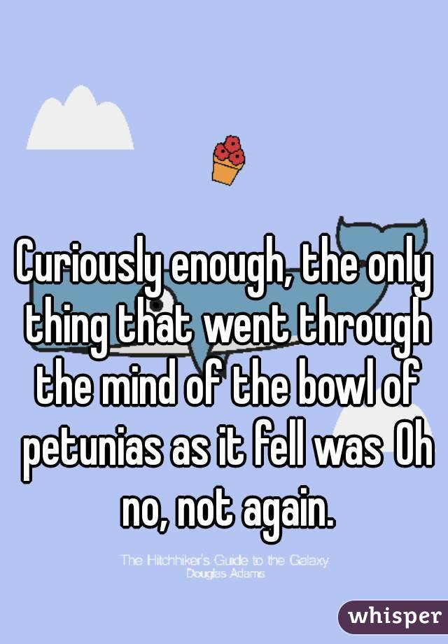 Curiously enough, the only thing that went through the mind of the bowl of petunias as it fell wasOh no, not again.