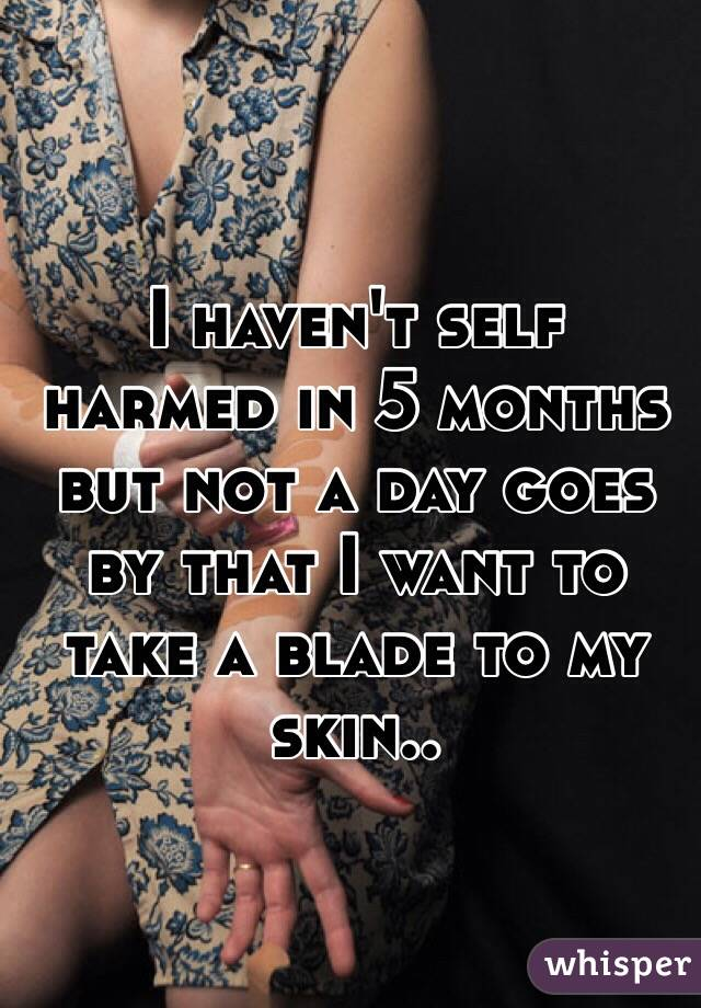 I haven't self harmed in 5 months but not a day goes by that I want to take a blade to my skin..