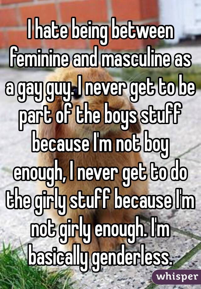 I hate being between feminine and masculine as a gay guy. I never get to be part of the boys stuff because I'm not boy enough, I never get to do the girly stuff because I'm not girly enough. I'm basically genderless.