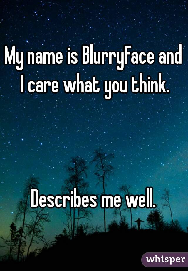 My name is BlurryFace and I care what you think.    Describes me well.