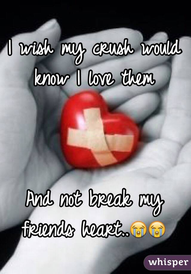 I wish my crush would know I love them    And not break my friends heart..😭😭