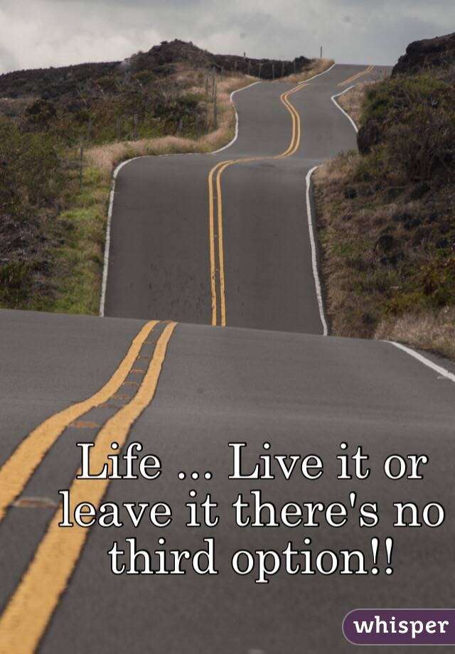 Life ... Live it or leave it there's no third option!!