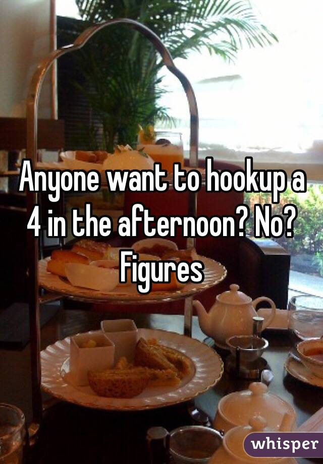 Anyone want to hookup a 4 in the afternoon? No? Figures