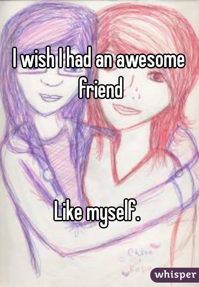 I wish I had an awesome friend    Like myself.