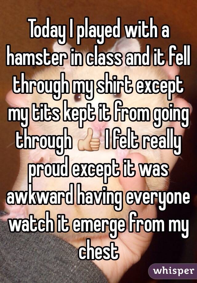 Today I played with a hamster in class and it fell through my shirt except my tits kept it from going through 👍 I felt really proud except it was awkward having everyone watch it emerge from my chest