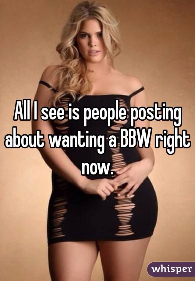 All I see is people posting about wanting a BBW right now.