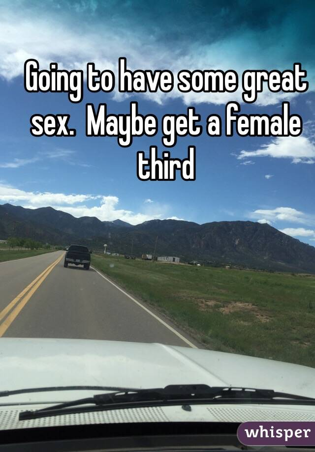 Going to have some great sex.  Maybe get a female third
