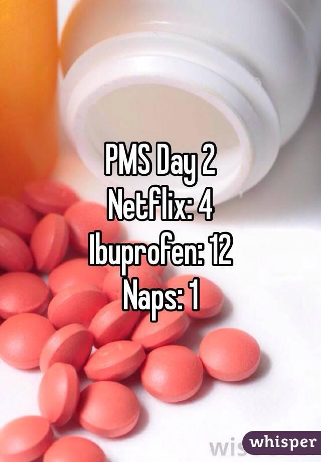 PMS Day 2 Netflix: 4 Ibuprofen: 12 Naps: 1