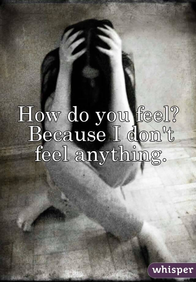 How do you feel? Because I don't feel anything.