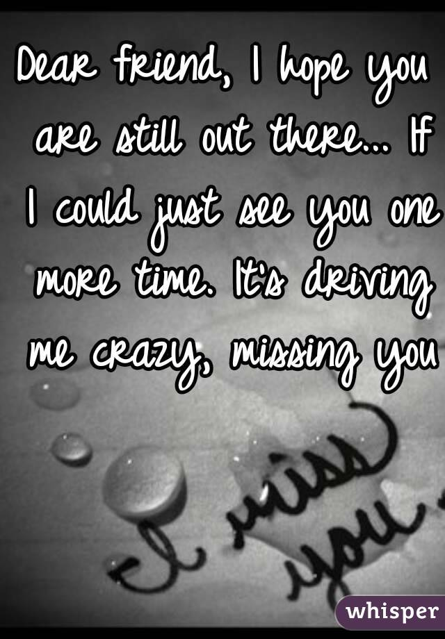 Dear friend, I hope you are still out there... If I could just see you one more time. It's driving me crazy, missing you