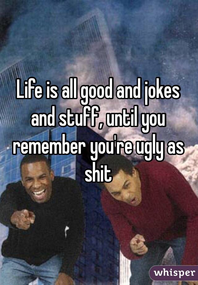 Life is all good and jokes and stuff, until you remember you're ugly as shit