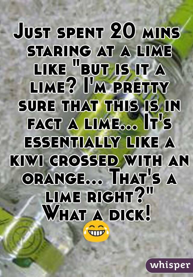 "Just spent 20 mins staring at a lime like ""but is it a lime? I'm pretty sure that this is in fact a lime... It's essentially like a kiwi crossed with an orange... That's a lime right?"" What a dick! 😂"