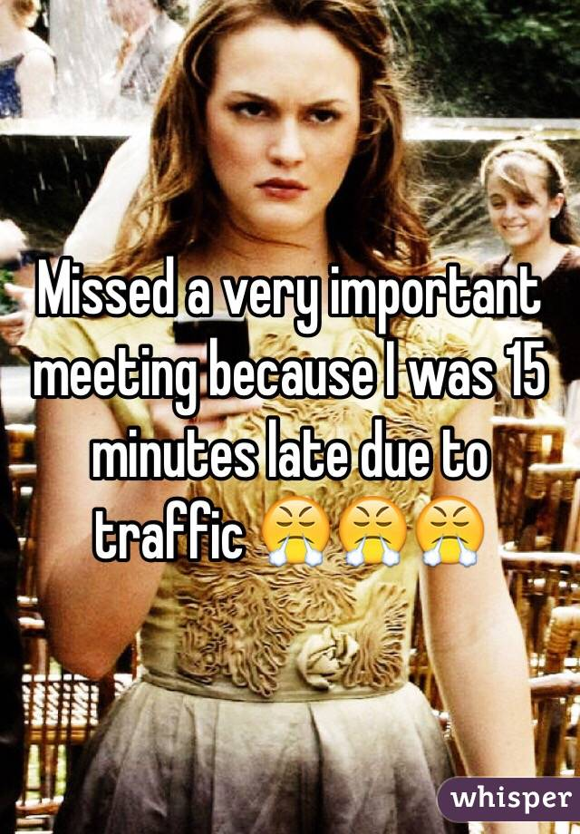 Missed a very important meeting because I was 15 minutes late due to traffic 😤😤😤
