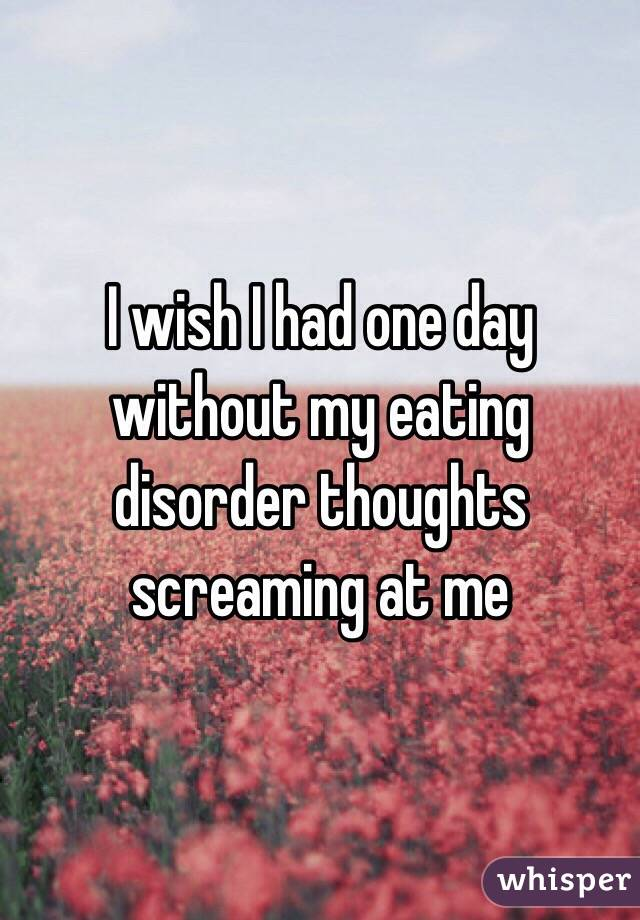 I wish I had one day without my eating disorder thoughts screaming at me
