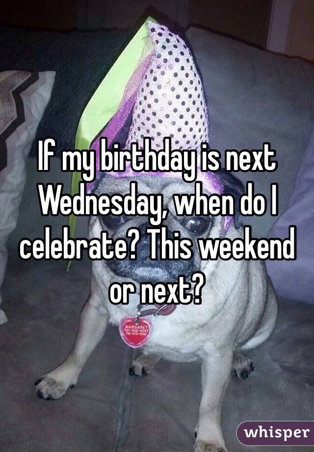 If my birthday is next Wednesday, when do I celebrate? This weekend or next?