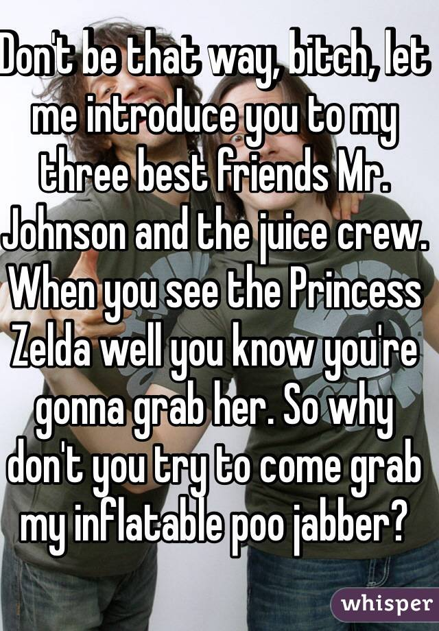 Don't be that way, bitch, let me introduce you to my three best friends Mr. Johnson and the juice crew.  When you see the Princess Zelda well you know you're gonna grab her. So why don't you try to come grab my inflatable poo jabber?