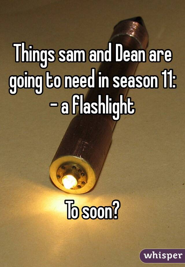 Things sam and Dean are going to need in season 11: - a flashlight    To soon?