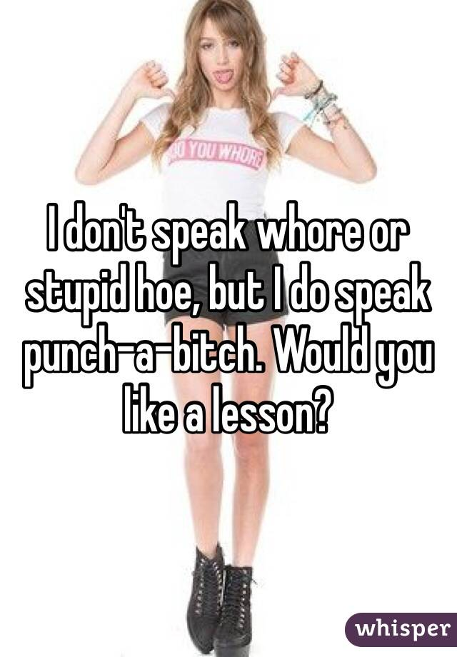 I don't speak whore or stupid hoe, but I do speak punch-a-bitch. Would you like a lesson?