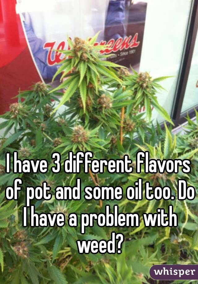 I have 3 different flavors of pot and some oil too. Do I have a problem with weed?