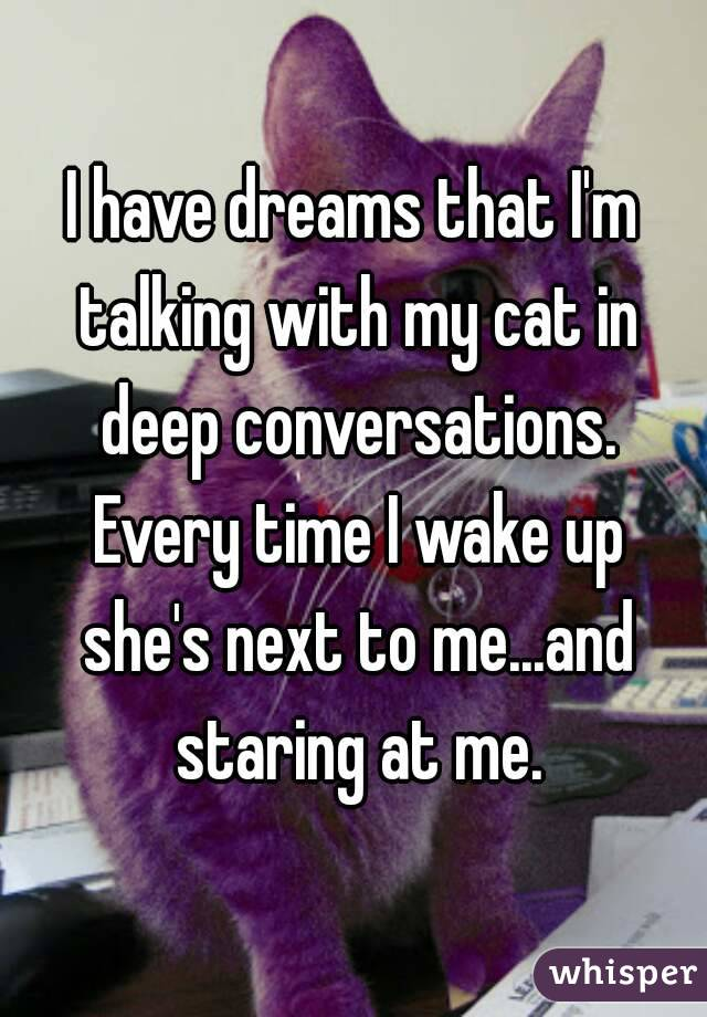 I have dreams that I'm talking with my cat in deep conversations. Every time I wake up she's next to me...and staring at me.
