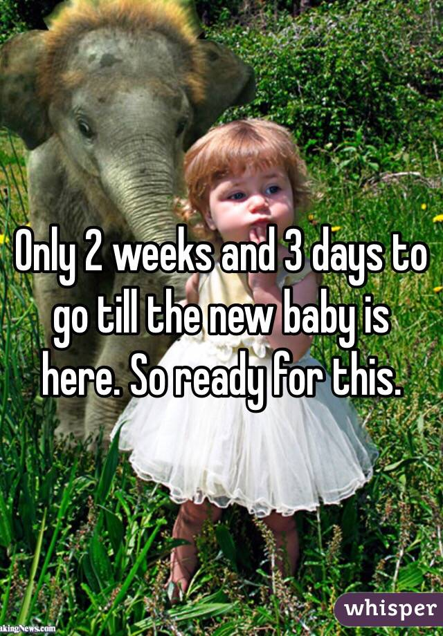 Only 2 weeks and 3 days to go till the new baby is here. So ready for this.