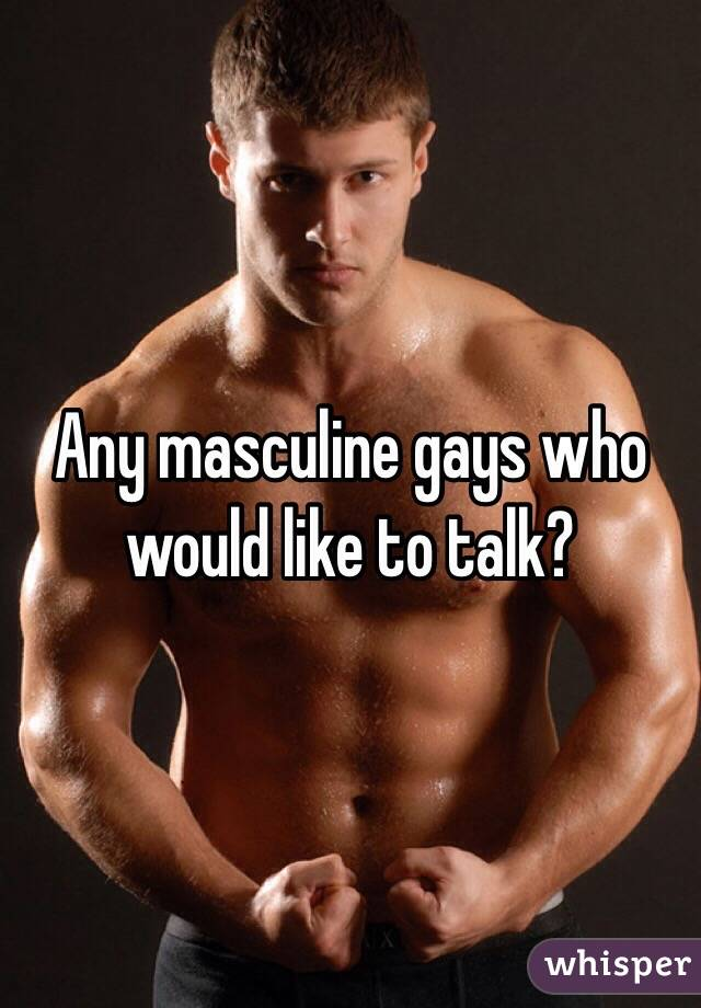 Any masculine gays who would like to talk?