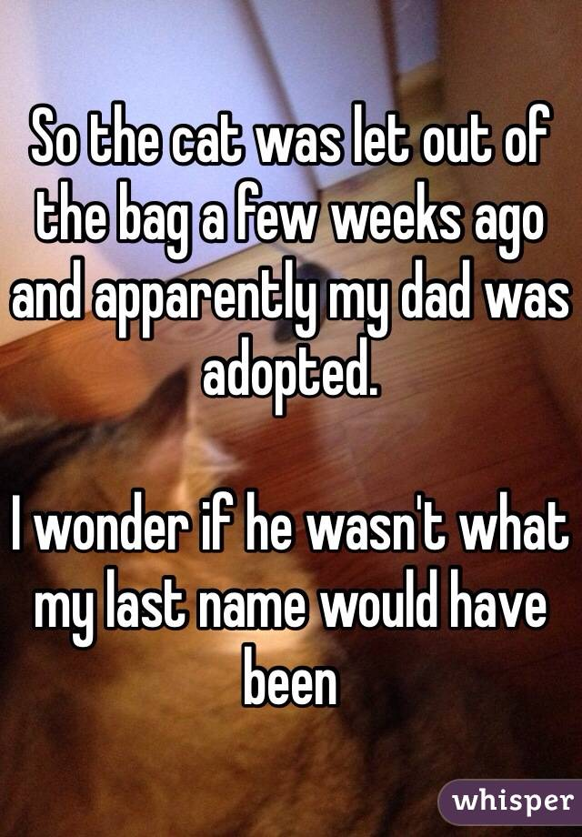 So the cat was let out of the bag a few weeks ago and apparently my dad was adopted.  I wonder if he wasn't what my last name would have been