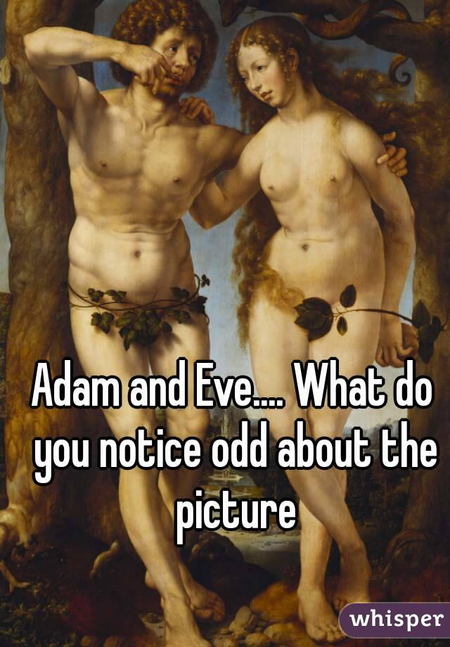 Adam and Eve.... What do you notice odd about the picture