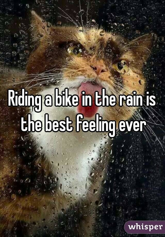 Riding a bike in the rain is the best feeling ever