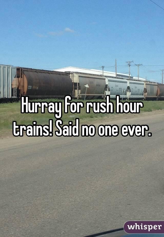 Hurray for rush hour trains! Said no one ever.