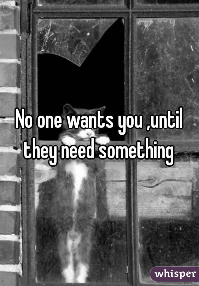 No one wants you ,until they need something