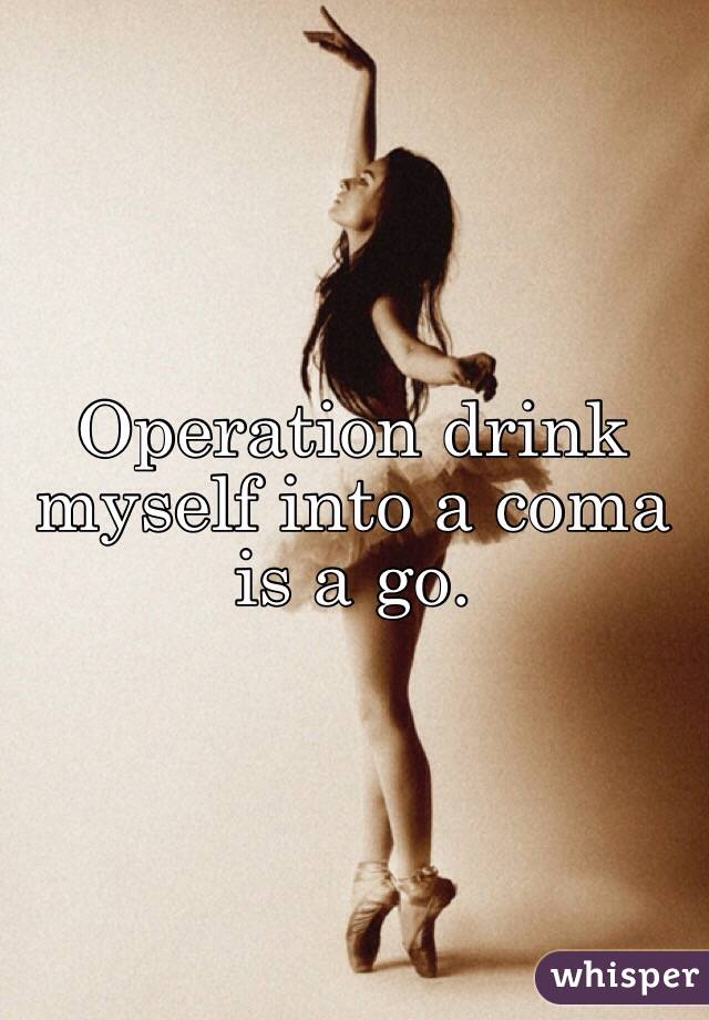 Operation drink myself into a coma is a go.
