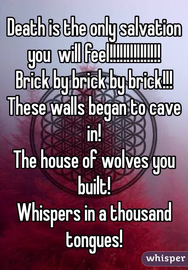Death is the only salvation you  will feel!!!!!!!!!!!!!!! Brick by brick by brick!!! These walls began to cave in! The house of wolves you built! Whispers in a thousand tongues!