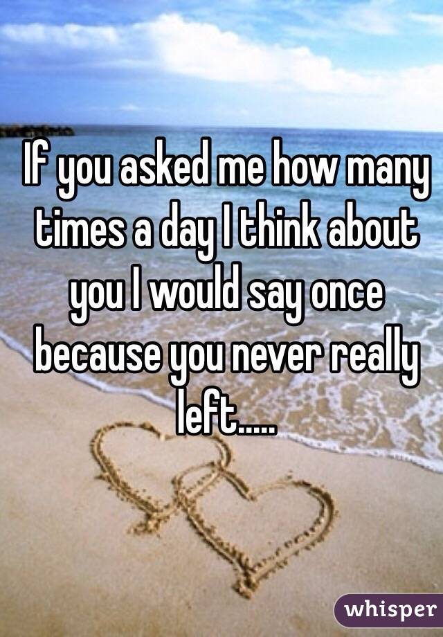 If you asked me how many times a day I think about you I would say once because you never really left.....
