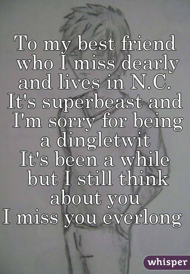 To my best friend who I miss dearly and lives in N.C.  It's superbeast and I'm sorry for being a dingletwit  It's been a while but I still think about you  I miss you everlong