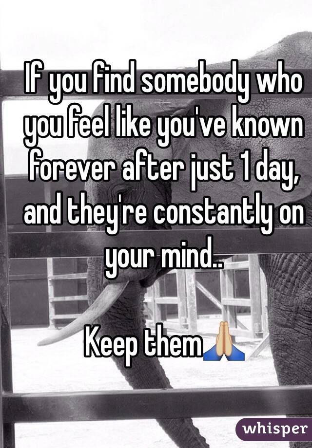 If you find somebody who you feel like you've known forever after just 1 day, and they're constantly on your mind..   Keep them🙏🏼