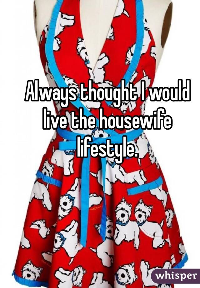 Always thought I would live the housewife lifestyle.