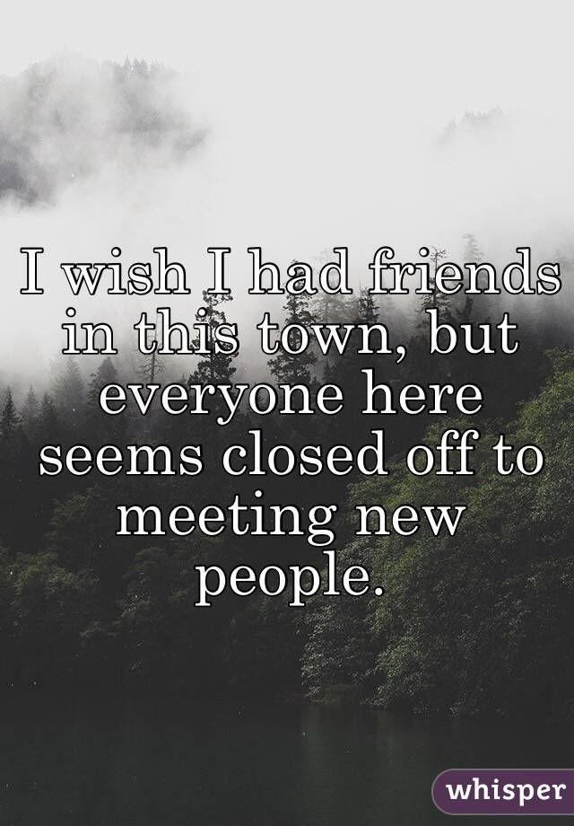 I wish I had friends in this town, but everyone here seems closed off to meeting new people.