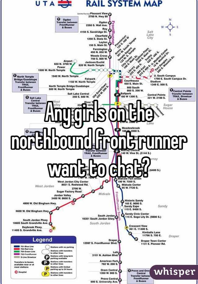 Any girls on the northbound front runner want to chat?