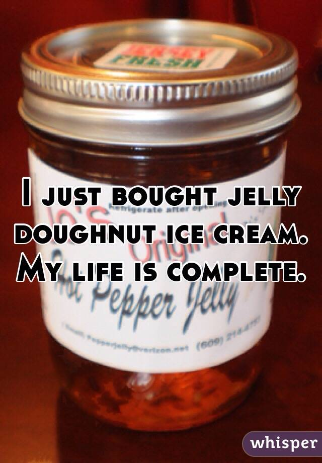 I just bought jelly doughnut ice cream. My life is complete.